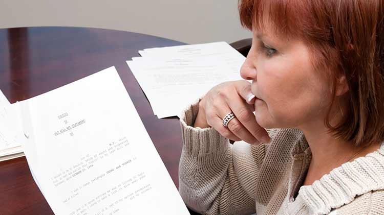 A woman is reviewing her will