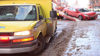 Car getting towed after accident