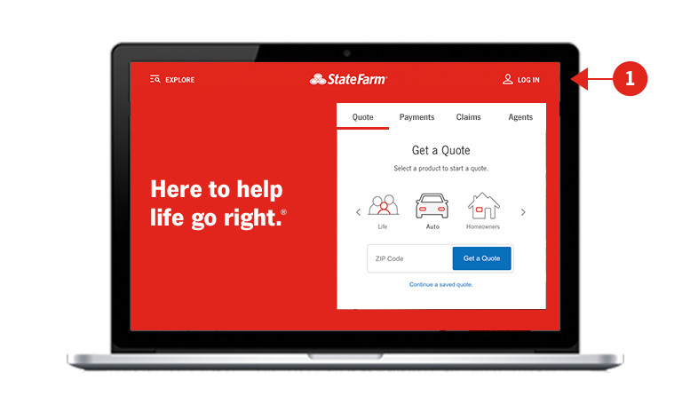 Screen shot of State Farm homepage with sections numerically identified and described below.