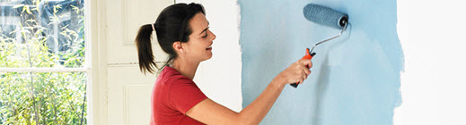 Women painting a wall blue
