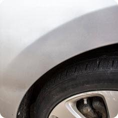 Example of paintless dent repair, after repair