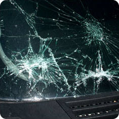 Image showing combination damage to the windshield.