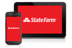 Mobile phone and tablet with the State Farm logo