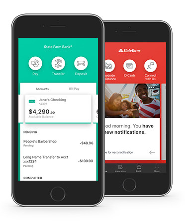 Image showcases banking screens within State Farm mobile app.