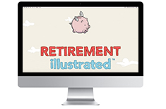Computer monitor with retirement illustration on screen