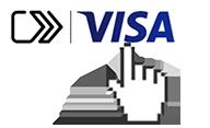 Finger pointing at Visa icon.