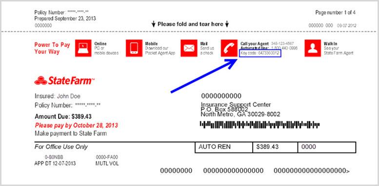 La imagen muestra la ubicación del código clave en las facturas del Plan de Pagos de State Farm y de seguro de automóviles.