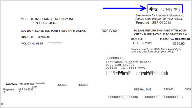 La imagen muestra la ubicación del código clave en las facturas de los seguros de propietarios de vivienda, vivienda, vida y salud.