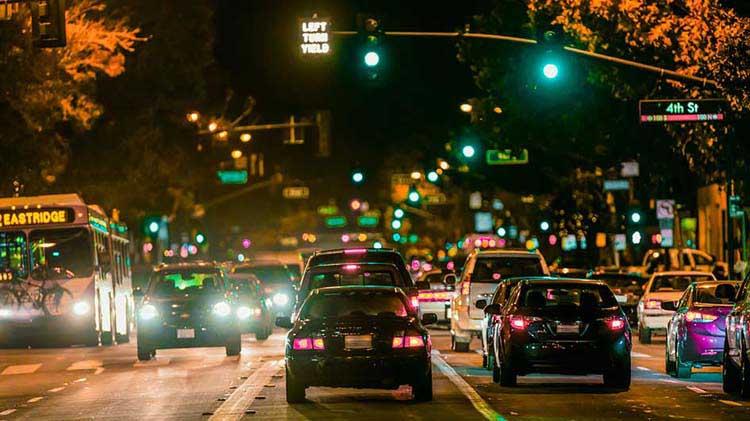 Traffic going through a green light