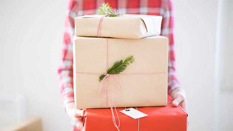 A stack of holiday gift packages