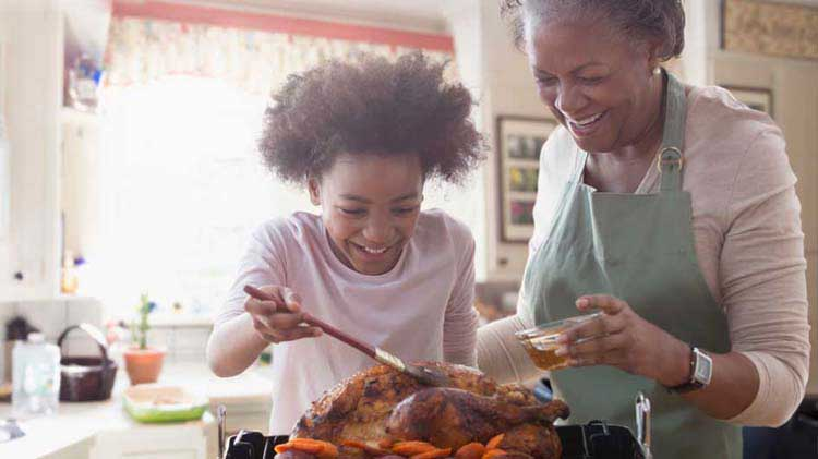 Mother and daughter cooking turkey
