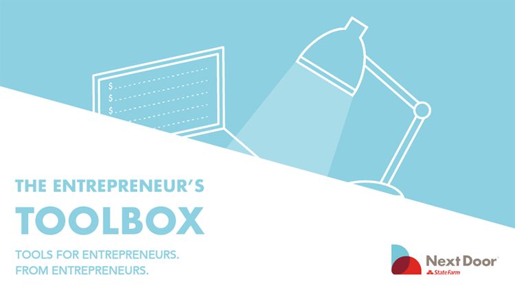 Graphic image with text: Entrepreneur's Toolbox