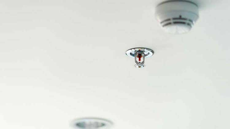 Sprinkler system component on a ceiling