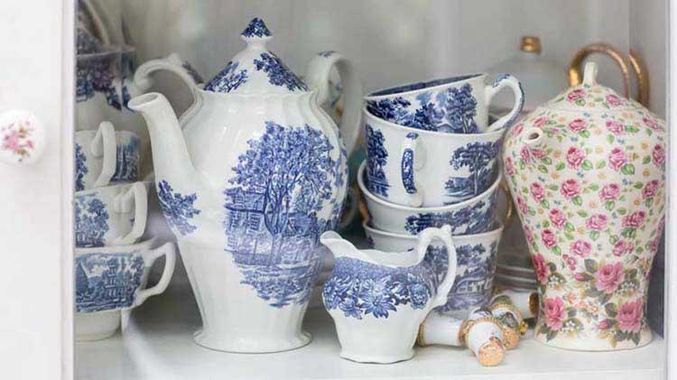 China items on a shelf