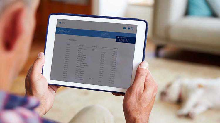 Person looking at financial records on a tablet device
