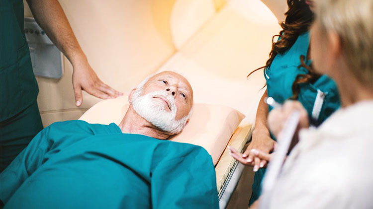 Man receiving test at health care facility
