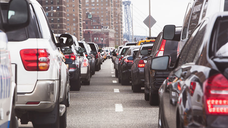 Dozens of cars caught in two lines of traffic