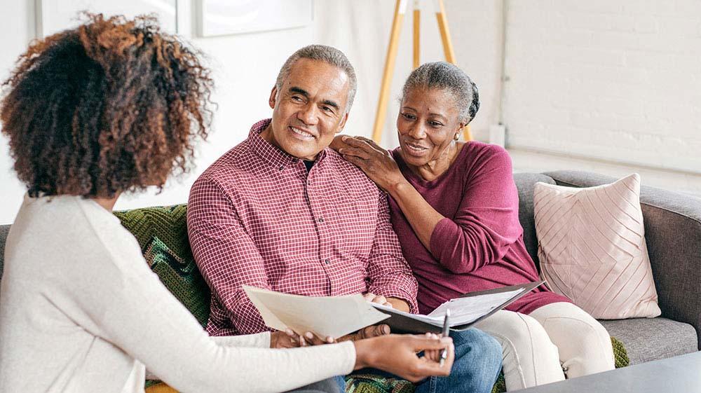 Couple discussing estate plan