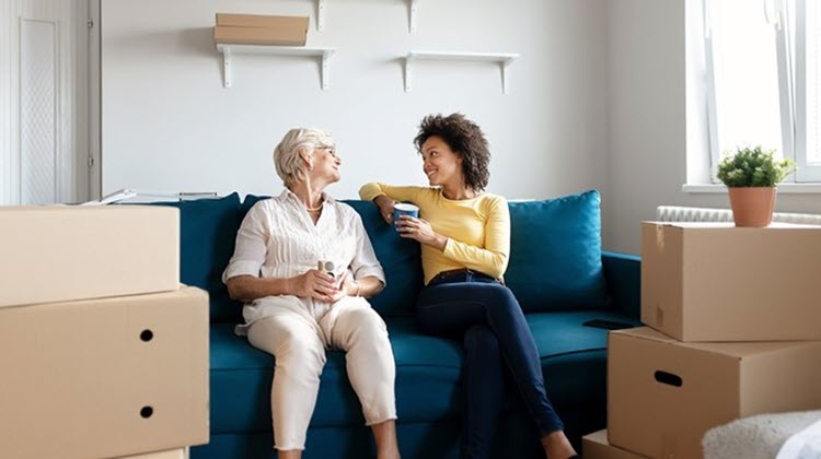 Woman and daughter downsizing to a smaller home.