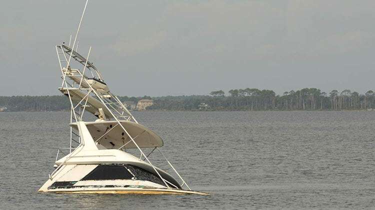 Boat sinking after a boat accident