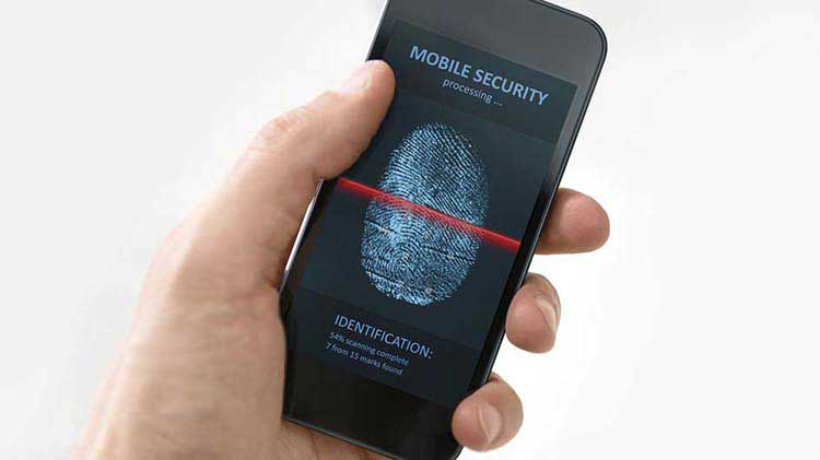 Person holding a smart phone with a finger scan display to help with mobile phone security.