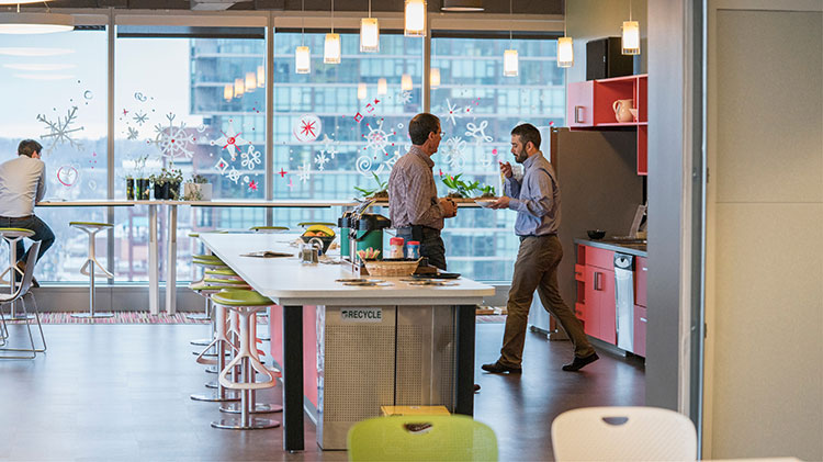 People working in a shared office