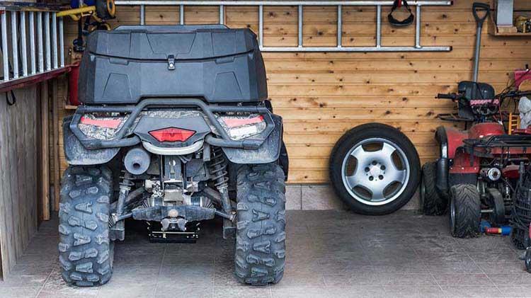 ATV stored in garage
