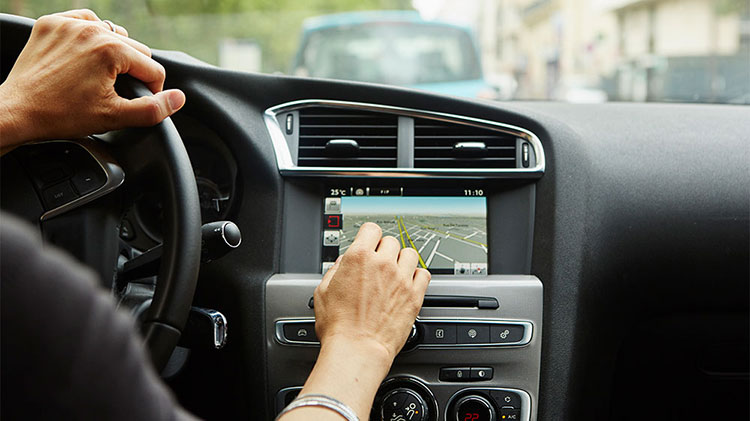 Driver test driving a car