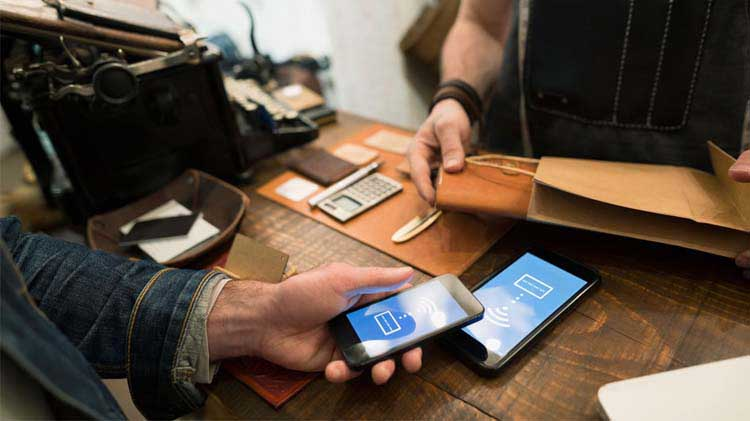 Customer using a mobile wallet.